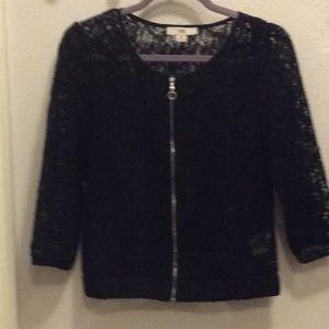 Tops - Black lace zip up top M